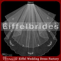 Wholesale Scalloped Edge Bridal Veil - Hot Sell Beautiful Bridal Veils with Delicate Lace Applique and Attractive Shining small Beads Stunning Two Layers Tulle Wedding Accessories