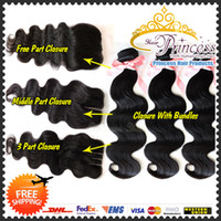 "Cheap Top Selling Brazilian Virgin Human Hair Lace closure silk base closure 8-26"" natrual color body wave free shipping with DHL"
