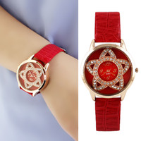 acrylic crystal hook - 2014 New Design PU Leather Wristband Flower Design Created Crystal Wristwatches for Girl and Women Gift