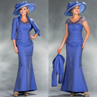 Cheap 2015 Sexy Plus Size Mother of the Bride Dresses Sheer A-Line Floor Length Taffeta Beaded With Jacket Evening Gowns Formal Groom Mother Dress