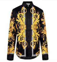 Wholesale 2015 New Arrival Brand Royal Style Shirts Fahion Shows Fabric Silk Shirts Men s Long Sleeve High Quality Gold Print Shirts