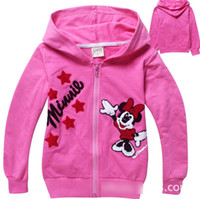 hooded sweat jackets - Lovely Cute Cartoon Mickey Mouse Terry Cotton Girls Cardigan Long Sleeve Girl Sweater Sweat Kids Childs Hoodied Jacket Rose Red Blue J1494