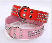 big dog collars bling - Large size dog collar drilling of three water bling big dog collars rhinestones L XL colors