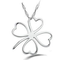 allergy necklaces - Simple Love Clover Pendant Necklace Sterling Silver on Layer Platinum Plated Allergy Free Wonderful Necklace ON67
