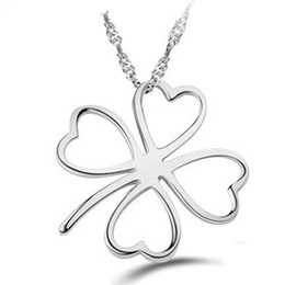 Wholesale Simple Love Clover Pendant Necklace Sterling Silver on Layer Platinum Plated Allergy Free Wonderful Necklace ON67