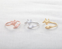 stretch rings - MIN pc Cute Fox Ring Gold Silver Rose Gold Fox rings unique rings adjustable rings animal rings stretch rings cute rings cool rings JZ017