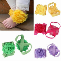 Wholesale Cute Baby Solid Color Foot Flower Feet Tied Barefoot Slipper Baby Infant First Walker Shoes ZXG