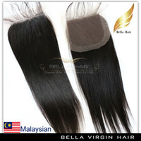 remy weave hair straight - Straight Remy Malaysian Human Hair Extensions Lace Closure Weaves Free Part Natural Black