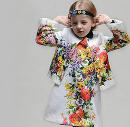 Wholesale Autumn Children Girls Long Sleeve Jacket Kids Cltohing High Quality Floral Outwear Childs Girl Flower Printing Europe Short Coat H1333