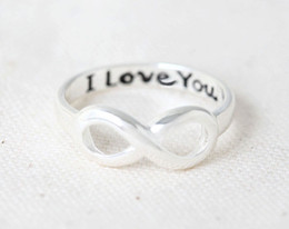Wholesale 10pcs I Love You Infinity Ring Gold Silver Rose Gold rings letter rings infinity rings message rings eternity rings JZ019