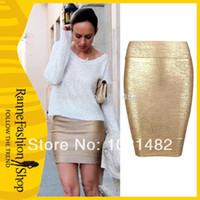 Cheap autumn skirt Free Shipping Unique Style High Pockets Hip Bandage Skirt Gold Mini Bandage Skirts for women sexy mini skirt