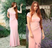 al por mayor americana novia de color rosa-Vestido de encaje de la manga del casquillo vestido de vestidos de satén rosa Appliques 2014 vestidos de moda de moda de la buena calidad American Brazilian Style