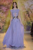 Cheap 2015 New Runway Zuhair Murad Evening Dresses Sheer Bateau Cap Sleeve Sequin Applique Lavender Lace Prom Gowns Celebrity Dress Without Belt