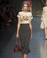 Cheap autumn skirt New 2014 Spring skirts for women clothing Europe Runway Dresses Catwalk Fashion Polka Dot Flouncing Fishtail sexy mini skirt