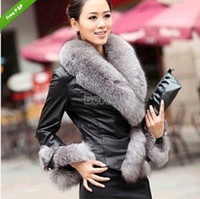 womens leather jackets - Womens Female Winter Coat Slim Full Sleeve Faux Fox Fur Jackets Synthetic Leather Jacket Outerwear DH04