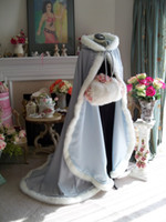 Wholesale Christmas Bridal Wraps High Quality Sky Blue Ivory Long Satin Bridal Cape Wedding Cloak Beauty and the Beast Semi Royal Train Handmade Items