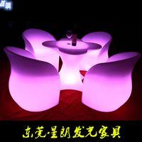 Wholesale custom rustic furnitureRotational LED luminous plum European home bar furniture table chair stool combination of four quality furnituretable