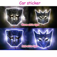 Wholesale LED Transformers Autobot D Logo Emblem Badge Decal Car Sticker Light New