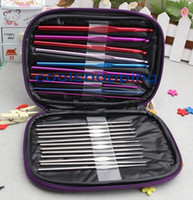 Wholesale DHL set Aluminum Crochet Hooks Needles Knit Weave Stitches Knitting Craft Case