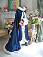 Wholesale Christmas Bridal Wraps Navy Blue Ivory Long Satin Bridal Cape Wedding Cloak Beauty and the Beast Semi Royal Train Handmade