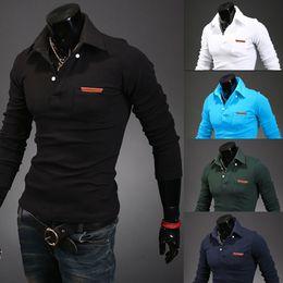 Wholesale Hot Fashionable joker Men polo Bag leather label decoration long sleeve shirt men Pure colour casual shirt mens Tight shirt