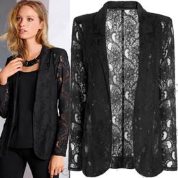 Wholesale Details about Fashion Womens Coat Slim Lace Blazer New One Button Jacket Suit Coat Black