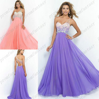 2016 Lavender Chiffon Beaded Prom Dresses Cheap Stunning Cry...