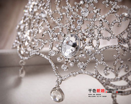 Wholesale Newest Luxurious Hot Sell Sparkle Pageant Crowns Rhinestone Plus Size Wedding Bridal Crowns Bridal Jewelry Tiaras Hair Accessories