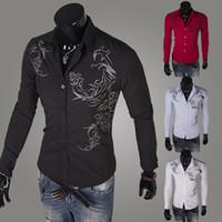 Casual Shirts Long Sleeve Cotton Blend Knit co 2014 Men Fashion tattoo printing long sleeve shirt men casual shirt mens Tight shirt dudalina shirts