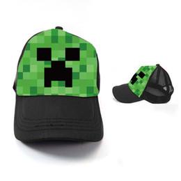 Wholesale 100pcs Minecraft Creeper Mesh Caps Cartoon Trucker Caps Lorry Caps Men Adjustbale Hats colors Cheap z TT39250589652