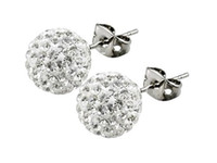 Wholesale Swarovski Rhinestone Silver Balls - Best Quality!6mm 12 Pairs Swarovski Crystal Shamballa Bead Pave Disco Ball Beads 925 Sterling Silver Earring Studs Fashion Jewelry