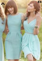 Wholesale 2016 Fashion Mint Short Chiffon Bridesmaid Dresses Scoop V neck A line Draping Mini Bridesmaid Gowns with Sash