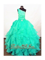 Wholesale Cheap Pretty Custom Mint Simple Fashion Attractive Girl s Pageant Dresses One shoulder Cascading Ruffles Beading Girl Party Gown