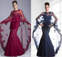 Cheap Janique New Arrival Modest 2015 Prom Dresses Formal Evening Gown Long Sleeve Lace Appliques Mermaid Shawl