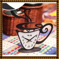 Cheap Novelty Home Decor Fashion Coffee Cup Mute Clock Desktop Table Clocks Hot Sale TZ0002