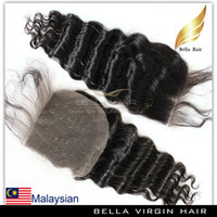 remy hair deep wave - Deep Wave Wavy Malaysian Virgin Remy Human Hair Extensions Lace Closure Weave Free Parting Unprocessed Top Grade