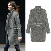 tweed jacket - Autumn and Winter Vintage Notched Collar Women Plaids and Tweeds Fashion Thick One Button Outerwear Trench Coat Warm Jacket G0669