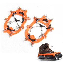 New 1 Pair 11 Teeth Claws Snow Ice Gripper Crampons Non-slip Shoes Cover Stainless Steel Chain for Outdoor Ski Hiking Climbing H11676
