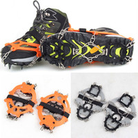 Wholesale 1Pair Teeth Claws Ice Crampons Stainless Steel Chain Non slip Shoes Cover Ski Snow Hiking Climbing Gripper Grey Orange H11677