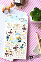 China (Mainland) arts swans - New sweet Funny Swan Lake transparent PVC decorative sticker diary Deco album sticker