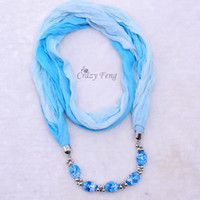 Wholesale Hot Selling Retail Fashion Design New Colors Women Lady s Jewelry Necklace Scarf Beads Cotton Pendant Scarves