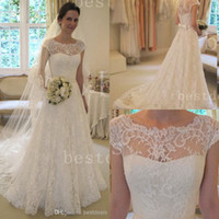 2014 Vintage Lace A- Line Wedding Dresses 2015 Sheer Bateau S...