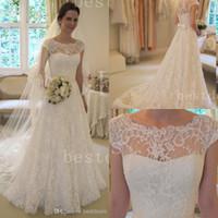 2014 Vintage Lace A- Line Wedding Dresses 2015 Sheer Bateau S...