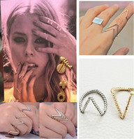 Cheap Hot Selling Punk Style Thin Band V-Shape Gold Silver Twisted Plain Ring Arrow Charm Finger Knuckle Midi Rings [JR14233*20]