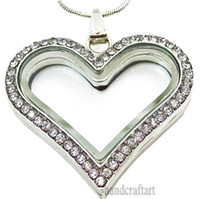 Cheap Wholesale - 5PCS !! Silver Heart magnetic glass floating charm locket Zinc Alloy+Rhinestone Free shipping (chains included for free) -2