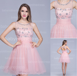 Wholesale 2014 Pink Short Homecoming Dresses Sheer Neck Capped Sleeves Beaded Tulle Rhinestones Top Backless Cocktail Party Gowns BZP0365