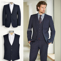 Navy Two Buttons Groom Tuxedos Notch Lapel Best Man Groomsme...
