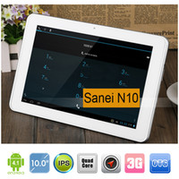 Wholesale Sanei N10 inch Quad Core G G WCDMA Phablet Android G RAM G ROM IPS Screen Wifi GPS Bluetooth OTG Dual Camera Phone Call Tablet