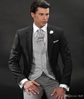 Groom Tuxedos 2014 Custom Made Black with Silver Grey One Bu...
