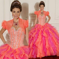 Cheap 2015 Sexy With Free Jacket Girls Quinceanara Dresses Sweetheart Ball Gown Beaded Colorful 16 Girls Organza Layered Prom Dress Gowns Lace Up
